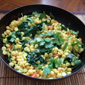 Tarka dal with spinach