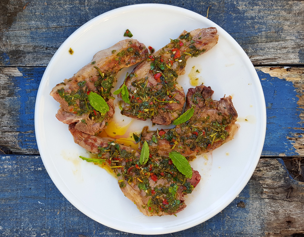 Grilled lamb chops with chilli and mint gremolata