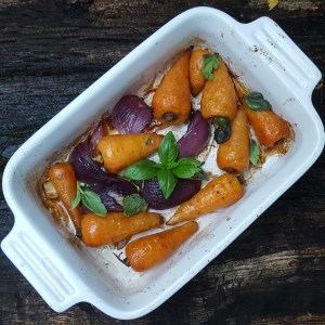 Balsamic and maple glazed baby carrots