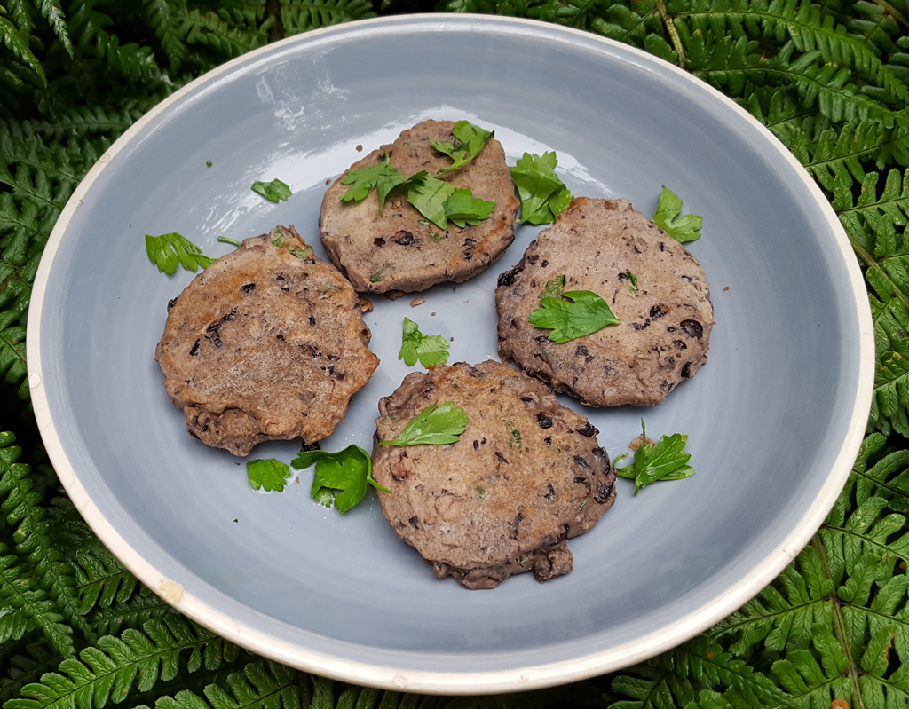 Spiced black bean cakes