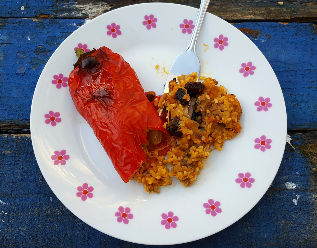 Spiced stuffed Romano peppers