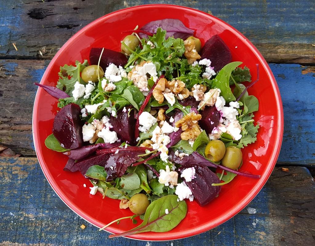 Beetroot, walnut and feta salad