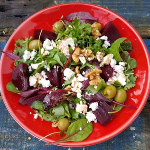 Beetroot, walnut and feta salad