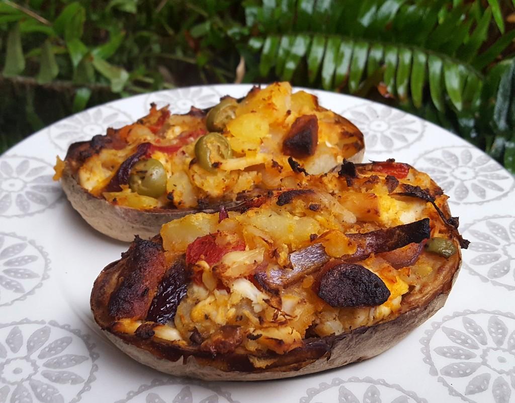 Spanish style loaded potato skins