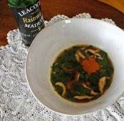 Adela's shitake and spinach party soup