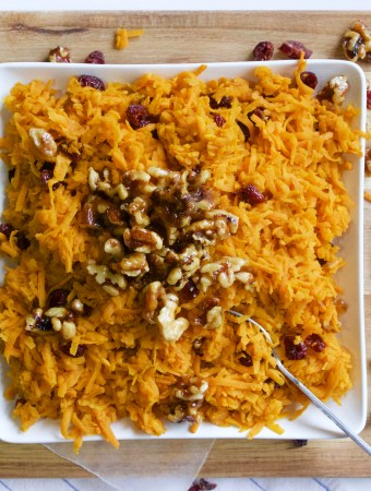 Shredded Sweet Potatoes with Cranberries and Candied Walnuts