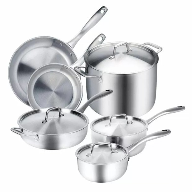Duxtop Whole-Clad Tri-Ply Stainless Steel Cookware Set