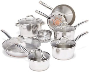 T-fal Stainless Steel Cookware Set - Best Pots and Pans for Gas Stove