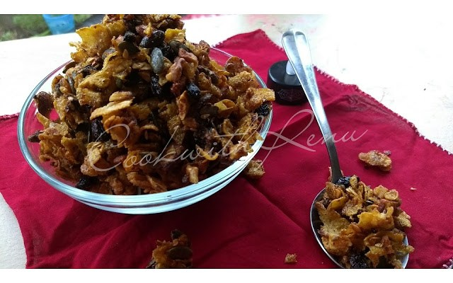 Cornflakes Granola (No Oil/Butter/Egg)