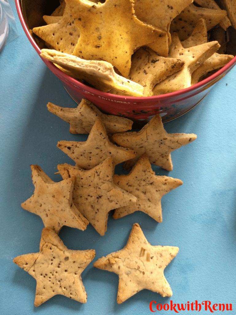 Baked Whole wheat Methi Matri (Fenugreek Crackers)