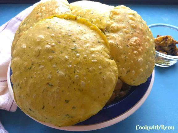Meethi Puri (Poori)   Fresh Fenugreek leaves Puri