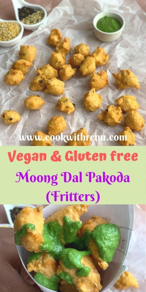 Moong Dal Pakoda (Fritters) - is a vegan and a gluten free snack, made using yellow split moong dal and a few ingredients available at home, best served along with tea.