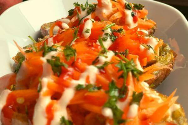 Baked Potato Skins with Paneer & Veggies