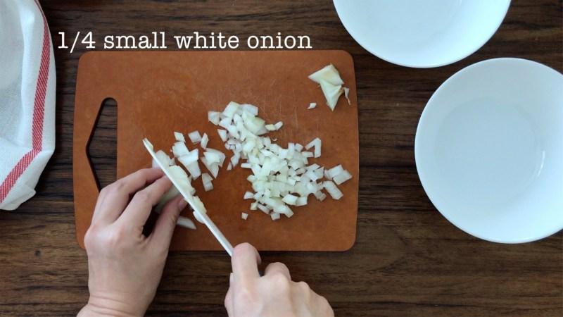 Chopping 1/4 white onion