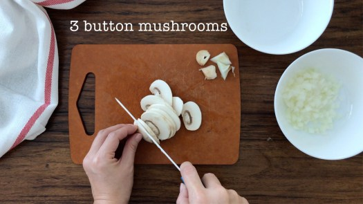 Slicing some button mushrooms