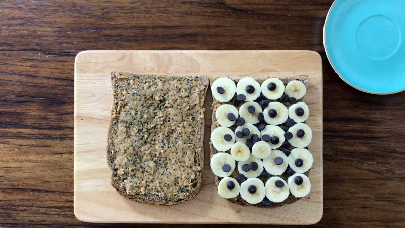 Put dark chocolate chips on top of the sliced banana