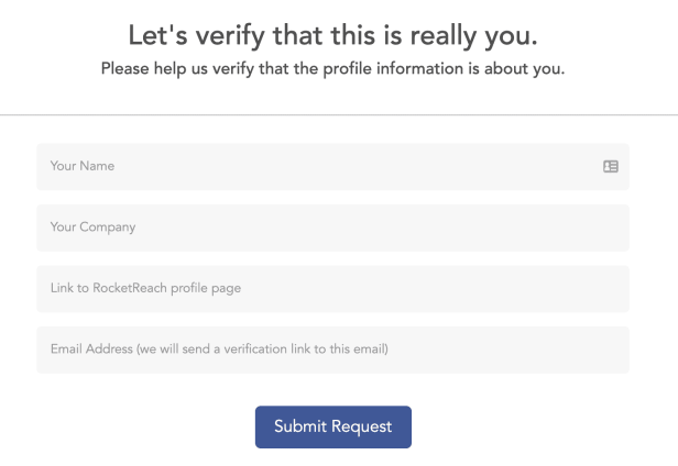 the form you have to fill out to remove your details, such as name, company, and email address