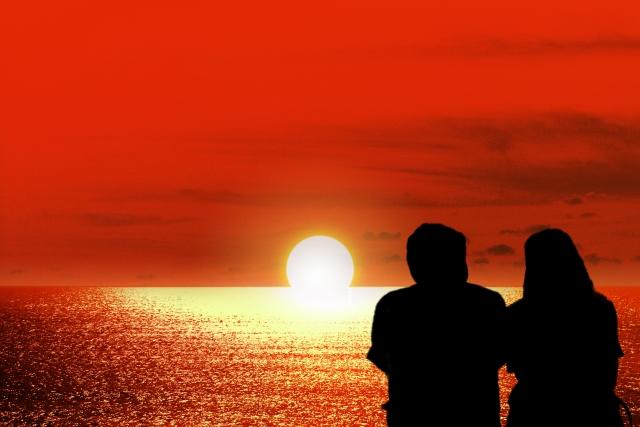 夕陽,夕日,夫婦,カップル