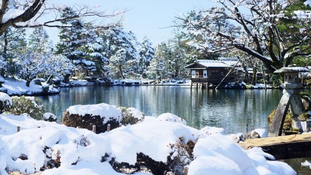 兼六園,雪景色,金沢,雪