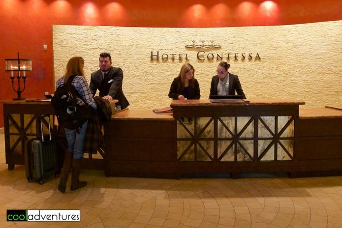 Checking in at Hotel Contessa, San Antonio, Texas