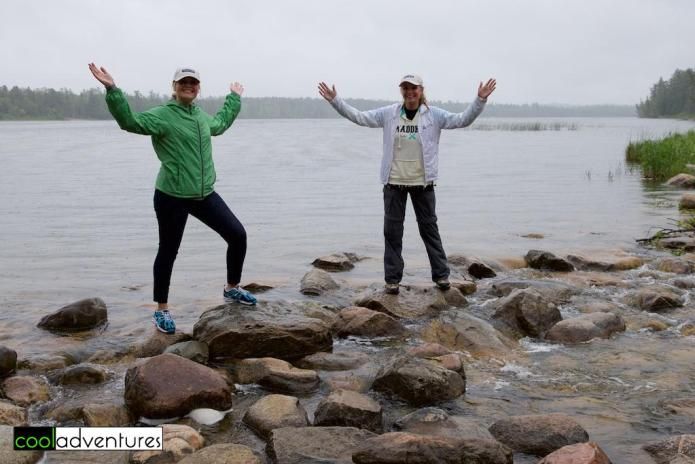 Caitlin Rick & Kim Hull cross the Mississippi River at Itasca State Park