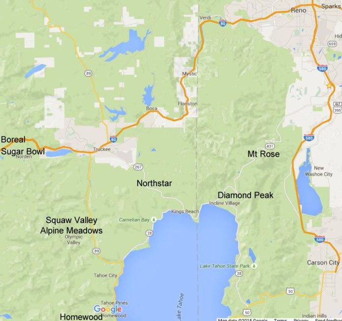 Reno - North Lake Tahoe map