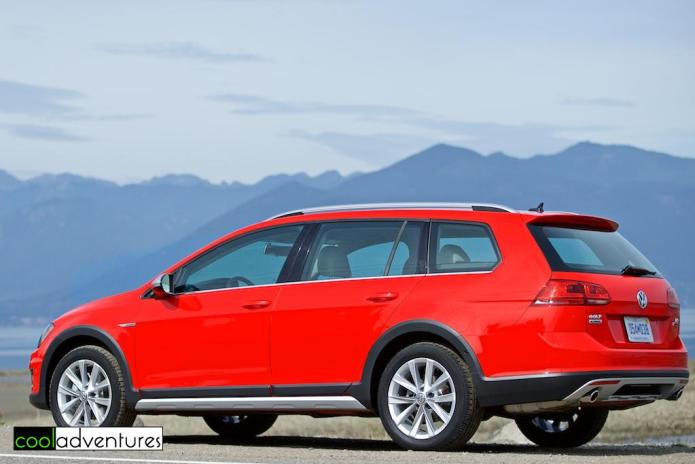 Red Volkswagen Golf Alltrack S model
