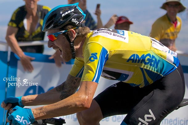 Bradley Wiggins fights for every second at the end of stage 3 on Mt Diablo
