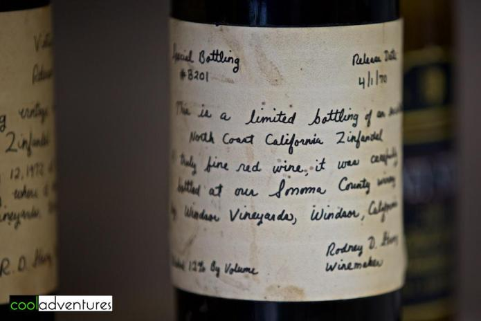 Handwritten label by Rod Strong, Rodney Strong Master Blender Experience, Sonoma County, California