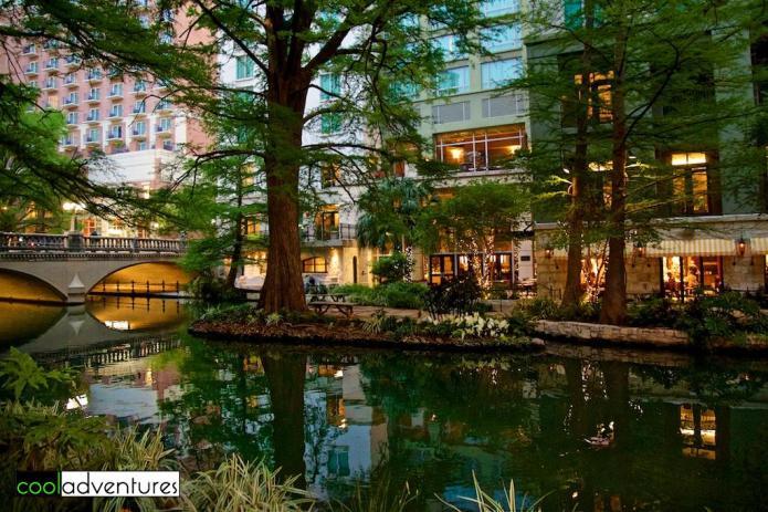 Hotel Contessa from the River Walk, San Antonio, Texas