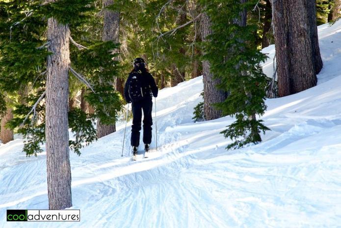 Kim Hull heading into the trees at Kirkwood MountainResort