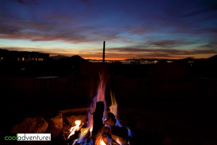Sunrise by the fire pit at JW Marriott Starr Pass Tucson Resort, Tucson, Arizona