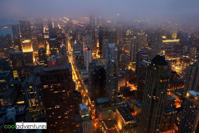 Night view, 360 Chicago Observation Deck, John Hancock Center, Chicago, Illinois