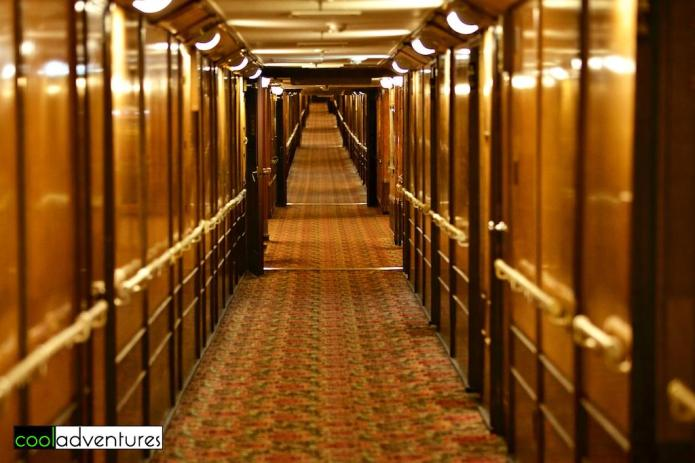 Stateroom hallways aboard The Queen Mary Hotel