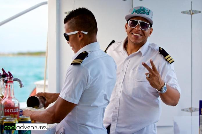 Firstmates Gerald Nicolaas and Randy Commenencia, Red Sail Sports Sunset Cruise, Aruba