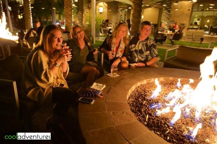 Meeting new friends at the fire pits, JW Marriott Phoenix Desert Ridge Resort & Spa, Phoenix, Arizona