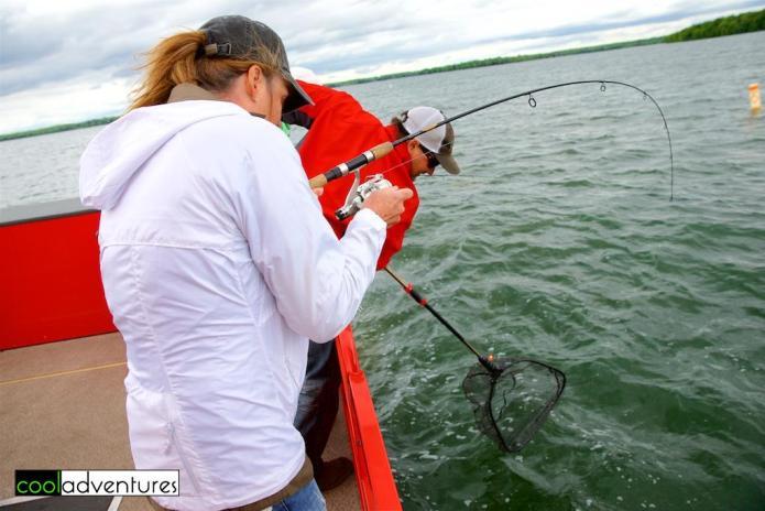 Kim Hull fishing with Mike Verdeja, McQuoid's Inn, Lake Mille Lacs
