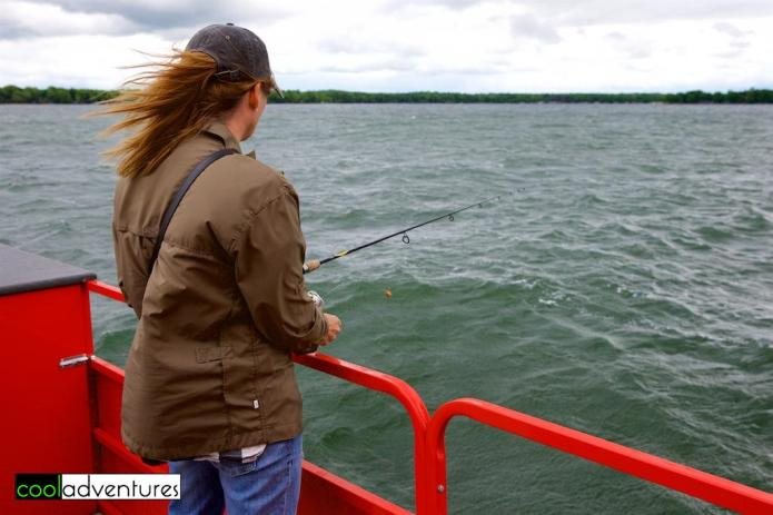 Kim Hull fishing on Lake Mille Lacs with McQuoid's Inn, Lake Mille Lacs
