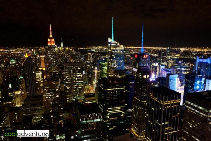 New York Skyline at night, Top of the Rock Observation Deck, New York, New York
