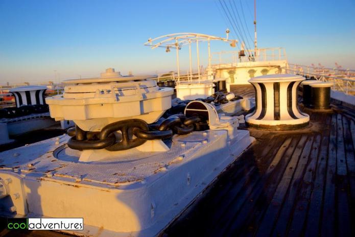 The Queen Mary decks at sunrise, Long Beach California