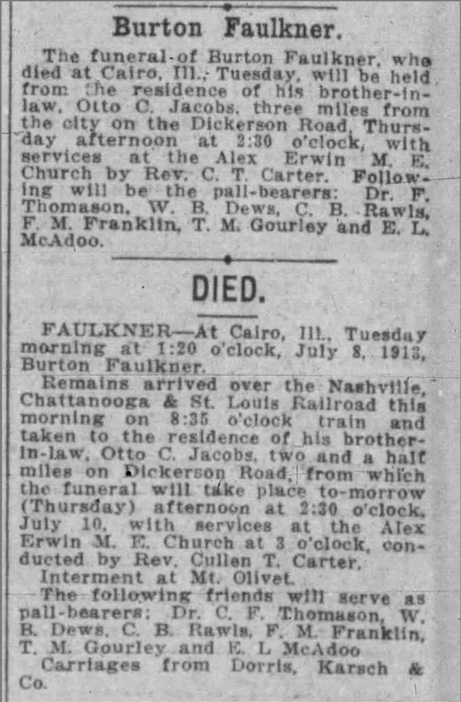 Burton Faulkner funeral notice, Nashville, Tennessee, 9 Jul 1913