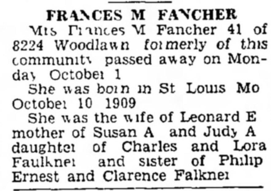 Frances M Fancher obituary, Chicago, Illinois, 3 Oct 1951