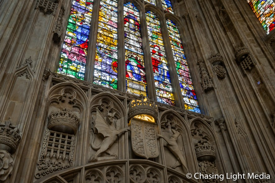 Stained glass windows, King's College chapel, Cambridge, England