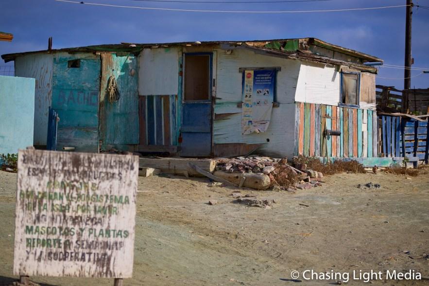 Building in fishing village, Islas San Benito, Baja California
