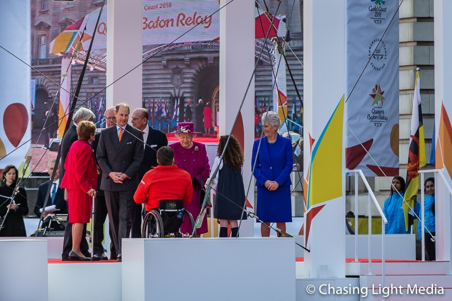 Queen Elizabeth II meets guests at the opening of the Commonweal