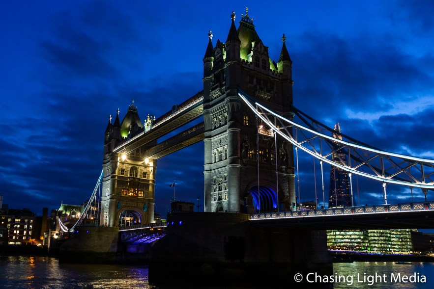 Tower Bridge illuminated at night, London, England