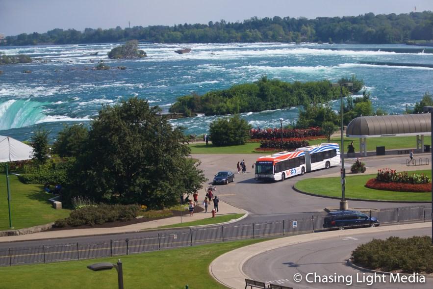 WeGo Bus stop near Horseshoe Falls at Niagara Falls, Canada