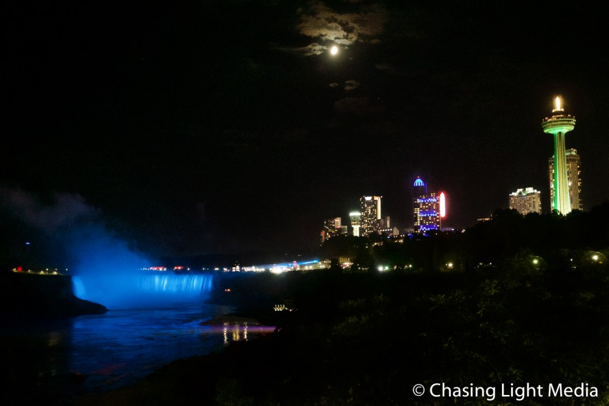 Niagara Falls with moon in the clouds
