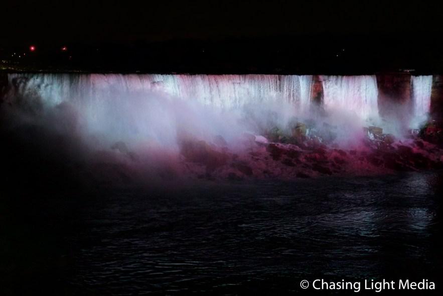 Niagara Falls in shades of pink
