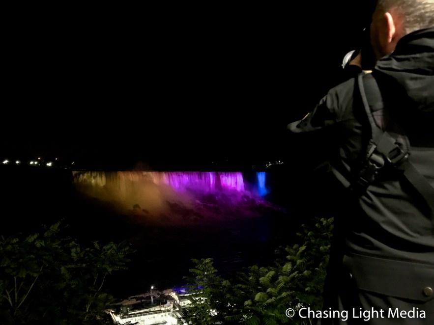 Greg Hull shooting at Niagara Falls at night